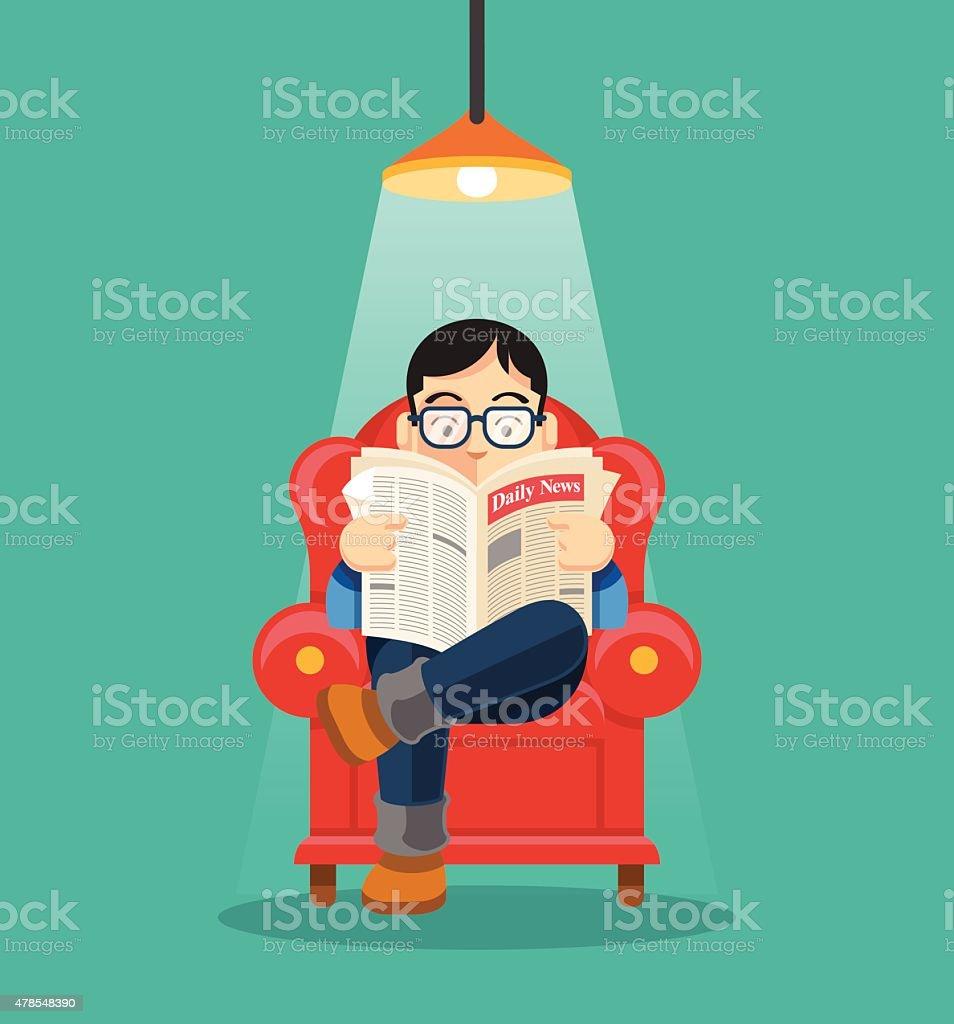 Man is reading newspaper. Vector flat illustration vector art illustration