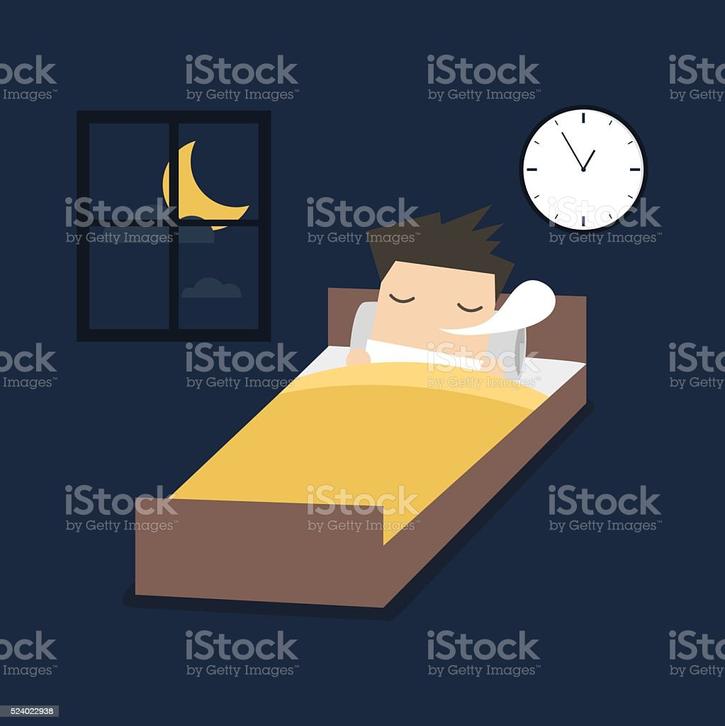 Man is sleeping on the bed. vector art illustration