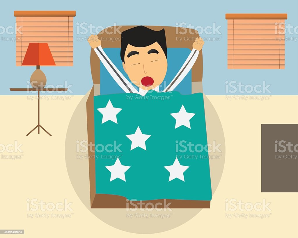 Man is sleeping vector art illustration