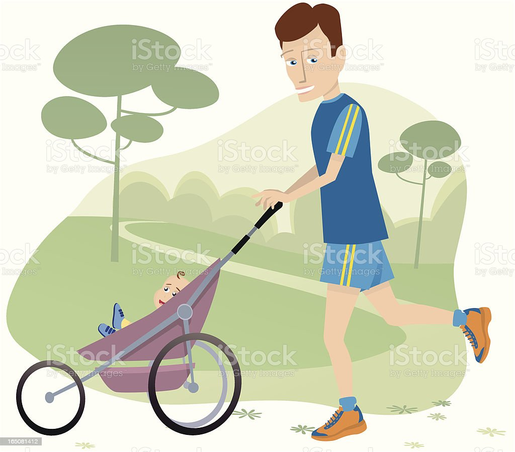 Man jogging with baby stroller in park royalty-free stock vector art