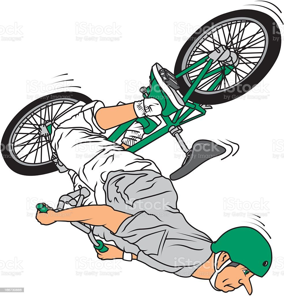 Man Jumping with Bicycle royalty-free stock vector art