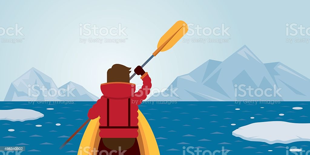 Man Kayaking, Arctic Background vector art illustration