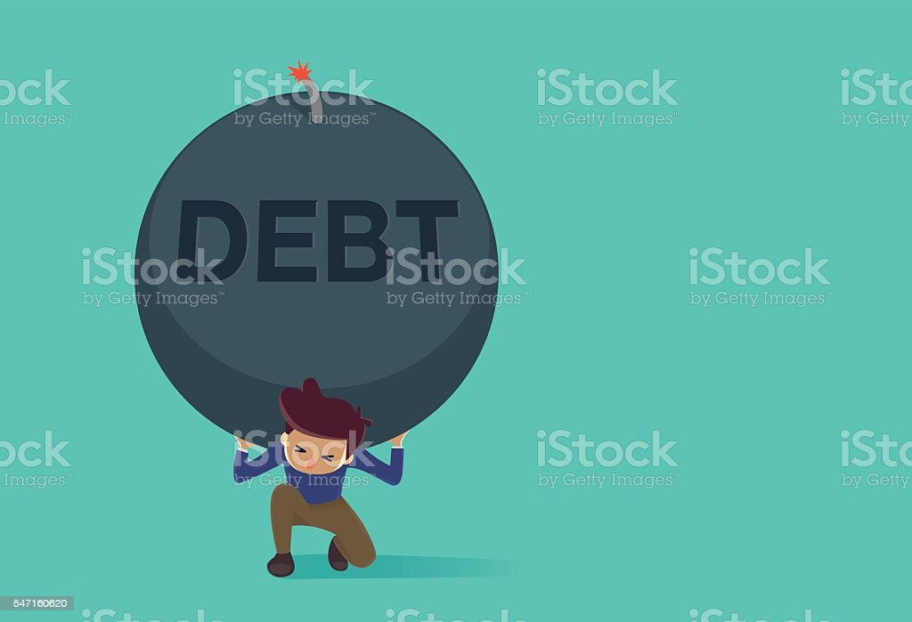 Man kneeling because carrying a big bomb of debt vector art illustration
