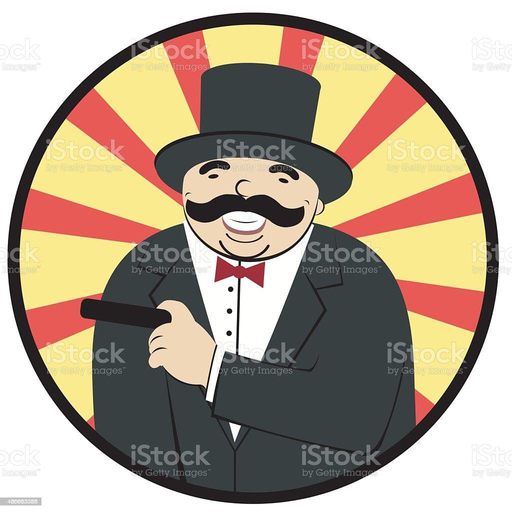 man laughing and smoking a cigar royalty-free stock vector art