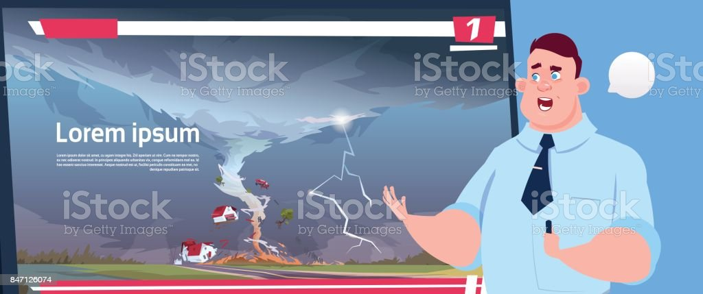 Man Leading Live TV Broadcast About Tornado Destroying Farm Hurricane Damage News Of Storm Waterspout In Countryside Natural Disaster Concept vector art illustration
