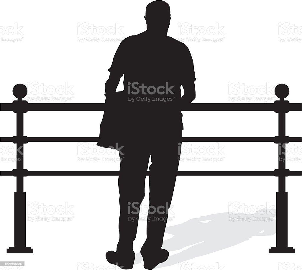 Man Leaning on Railings royalty-free stock vector art
