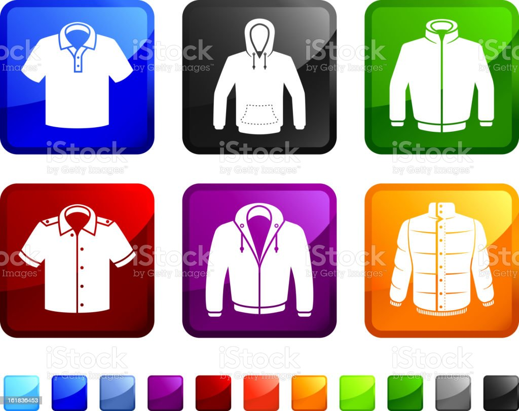 man Leisure Clothing and Sportswear vector icon set stickers vector art illustration