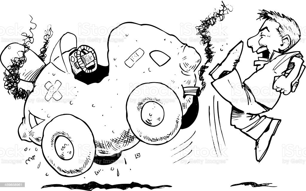 Man Lemon Car vector art illustration