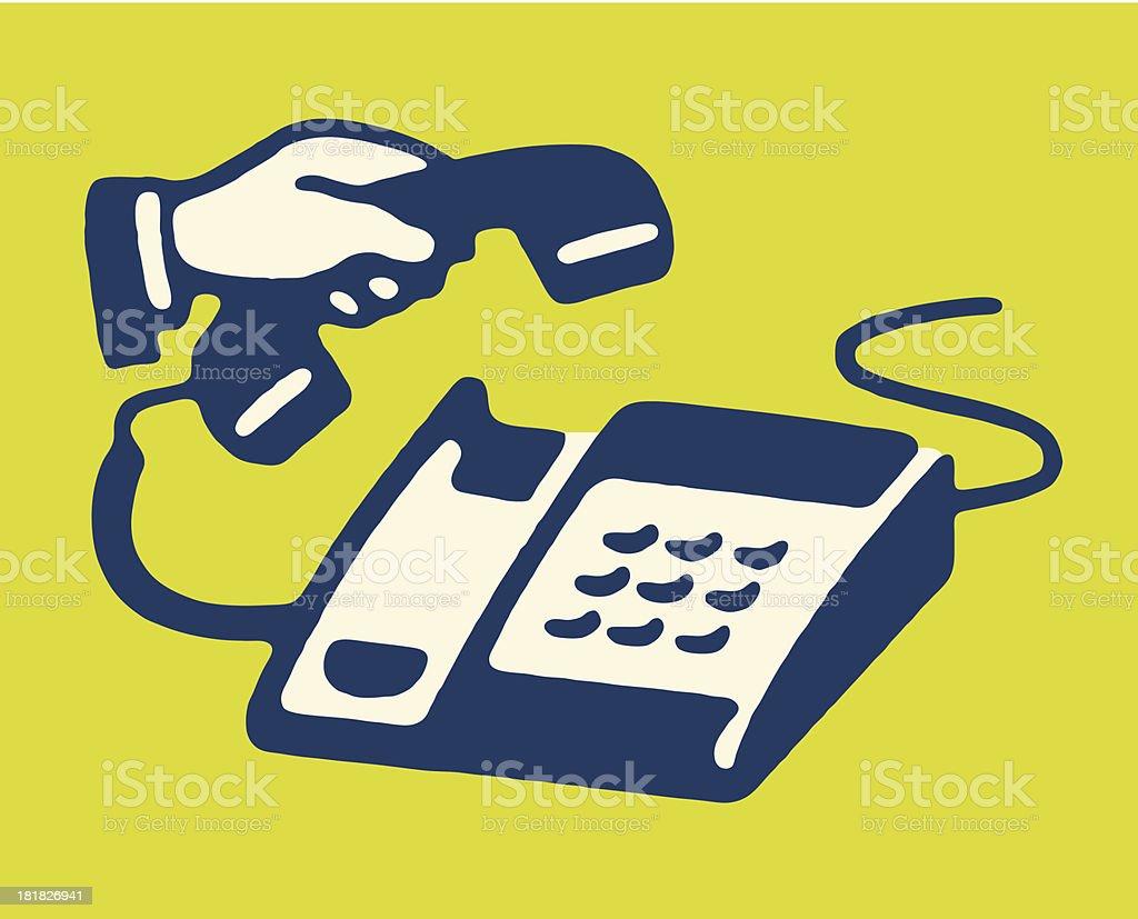 Man Lifting Handset of Keypad Telephone royalty-free stock vector art