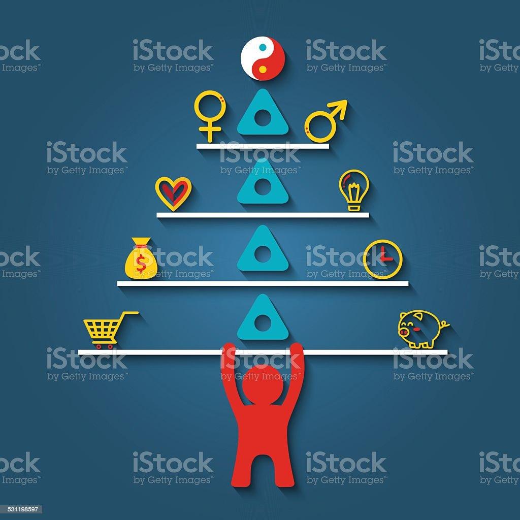 Man lifting stack of life balance elements vector art illustration