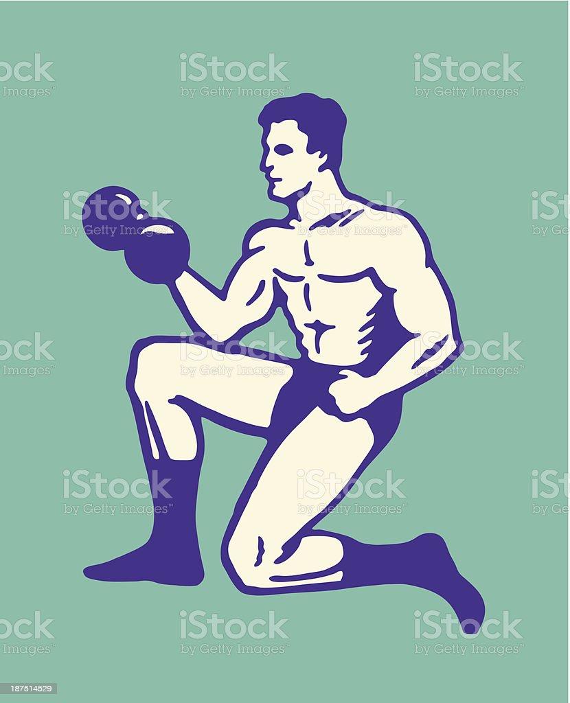 Man Lifting Weights vector art illustration