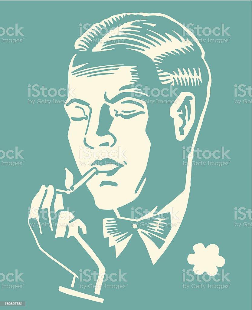 Man Lighting a Cigarette royalty-free stock vector art