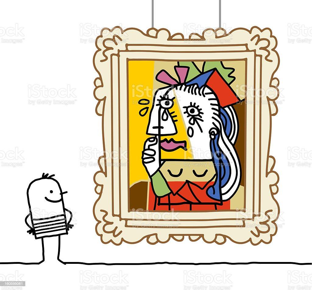 man looking at a Pablo imitation royalty-free stock vector art
