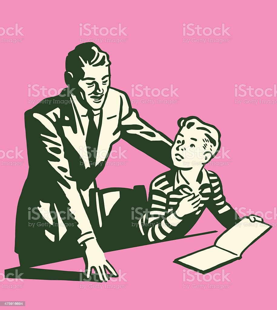 Man Looking at Book With Son vector art illustration