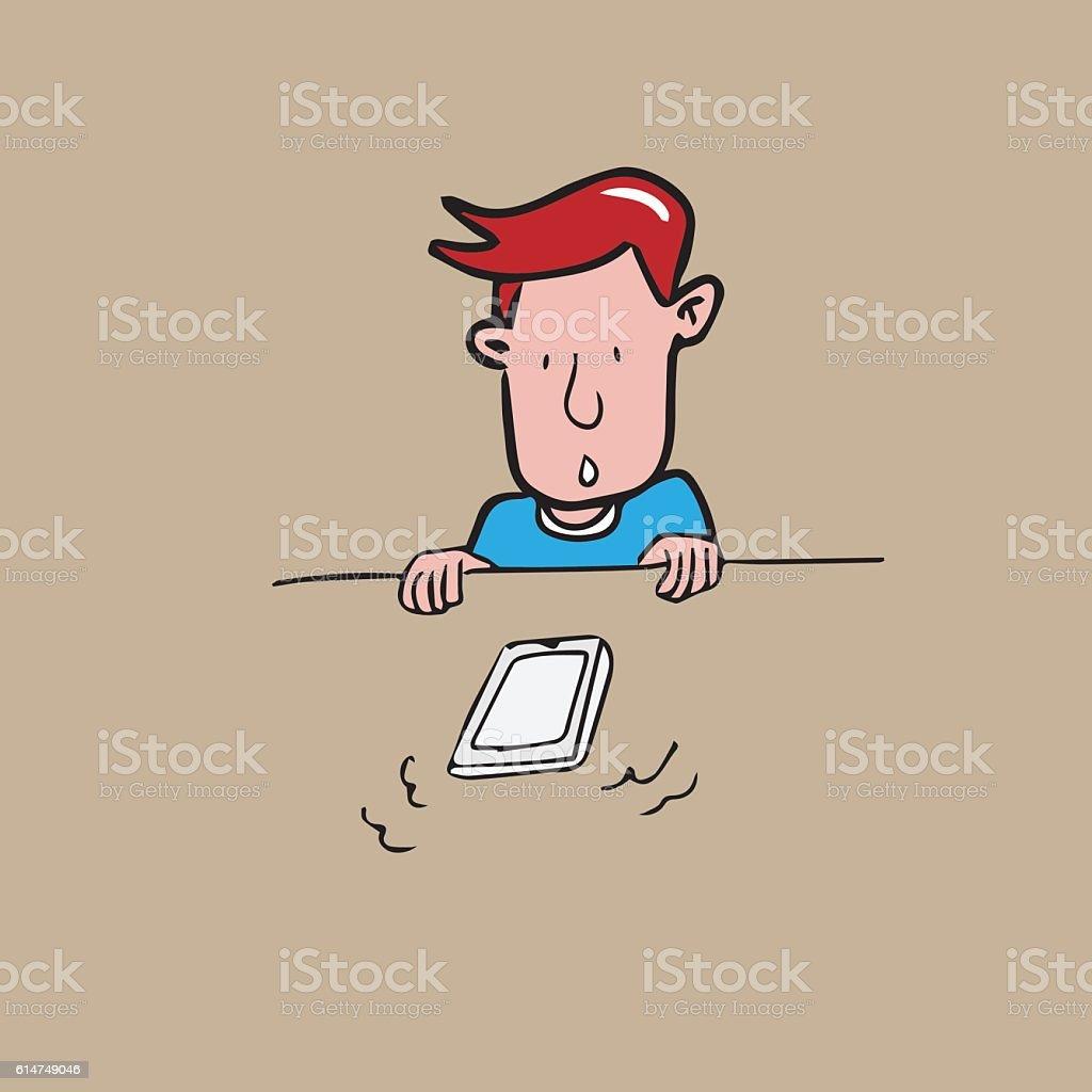Man looking at ringing phone cartoon vector art illustration