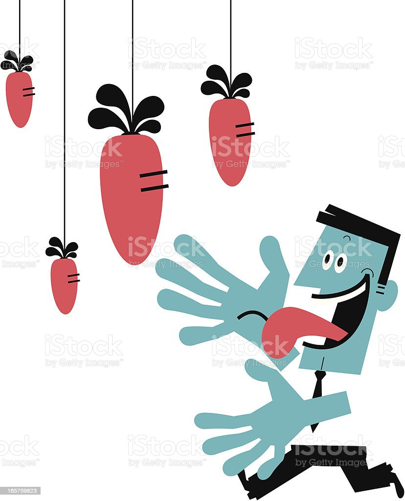 Man Looking at The Big Carrot royalty-free stock vector art