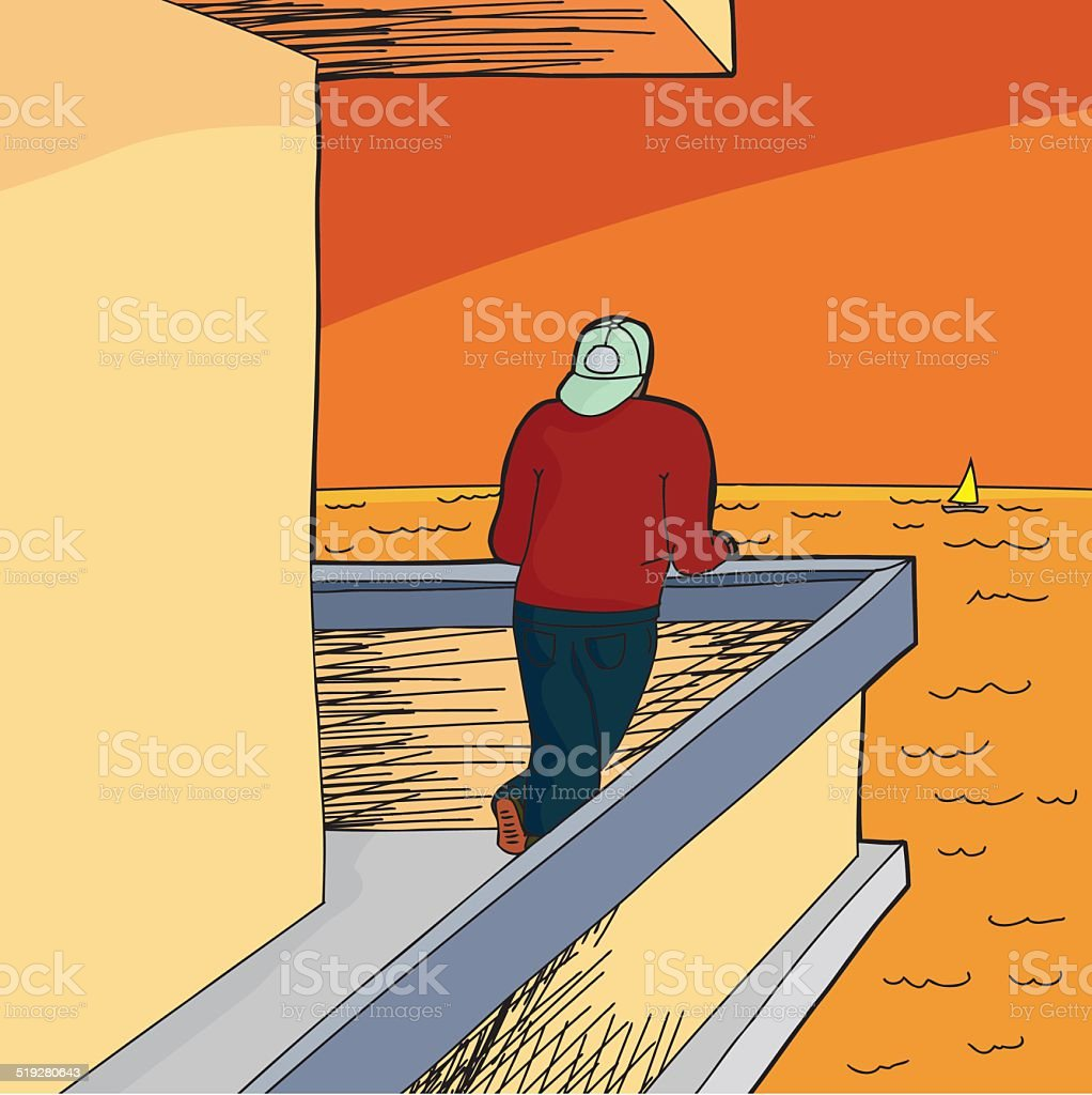 Man Looking From Patio vector art illustration
