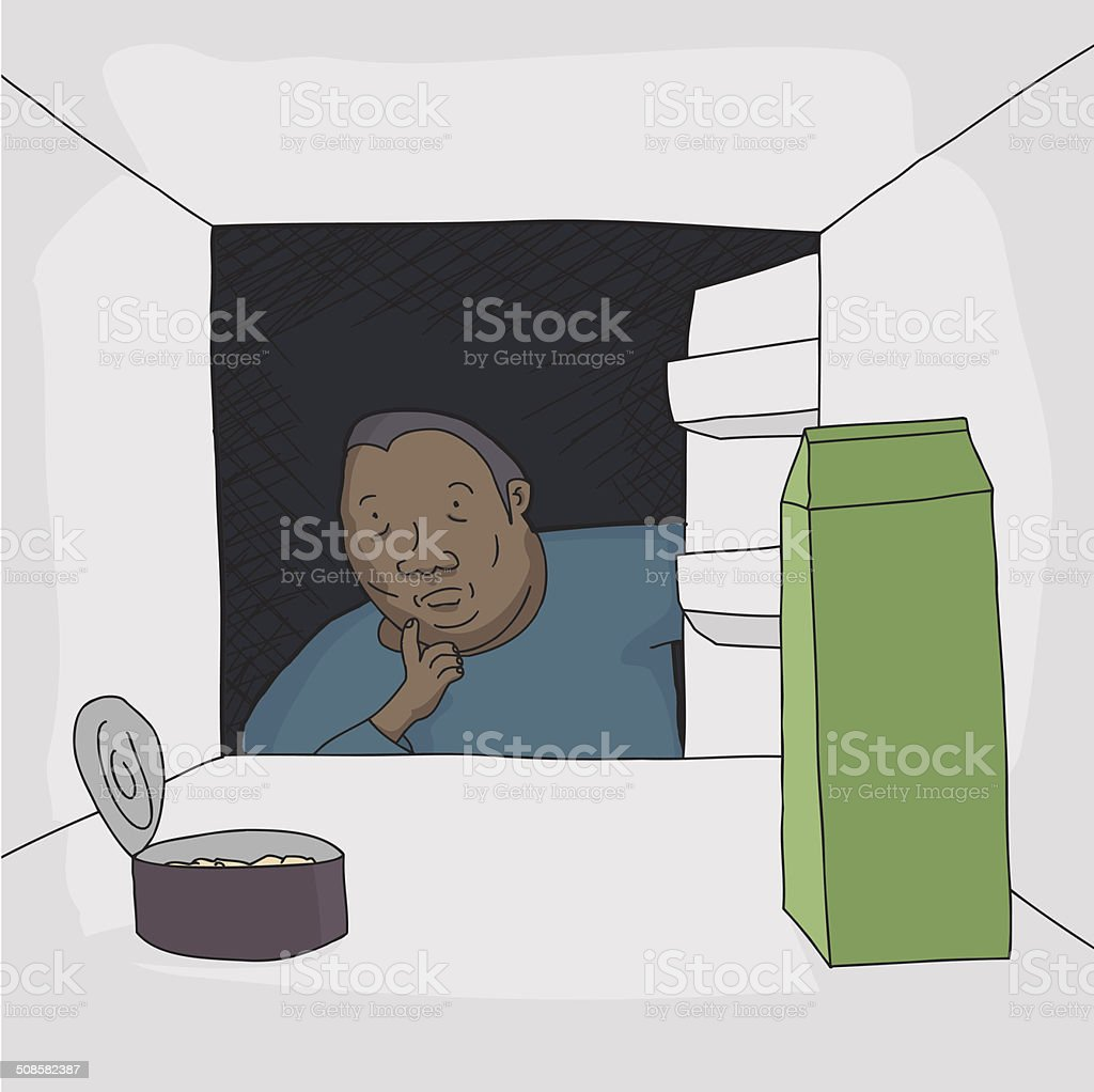 Man Looking in Refrigerator vector art illustration