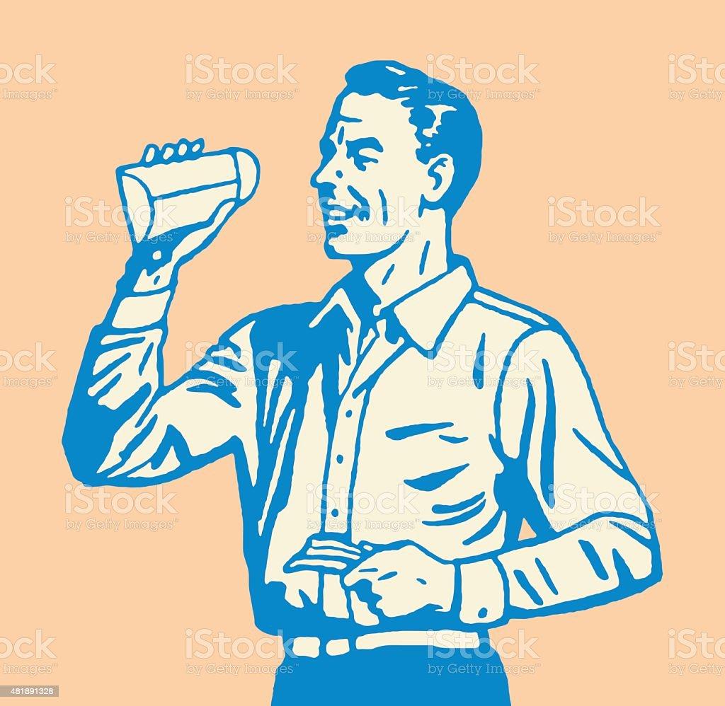 Man Looking Inside Small Envelope vector art illustration