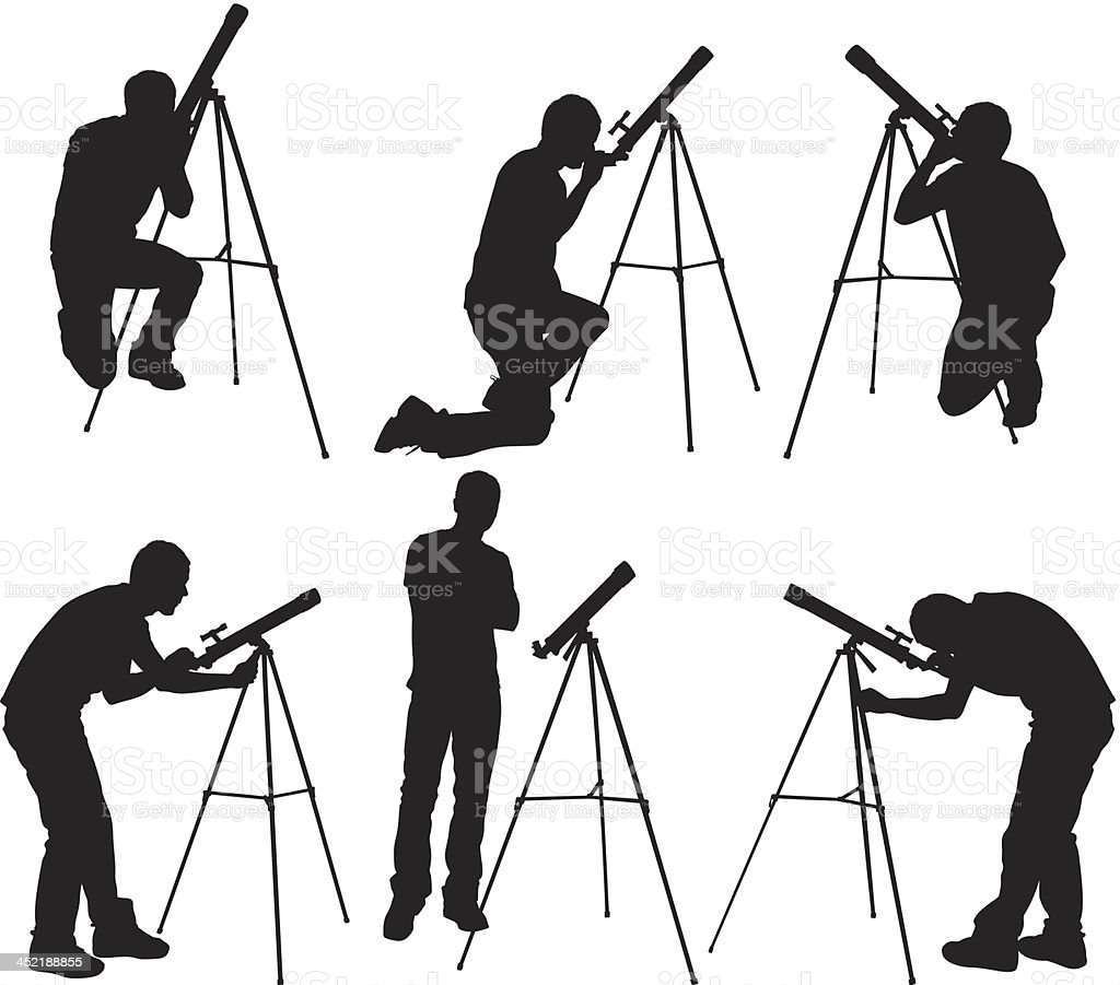 Man looking through astronomy telescope royalty-free stock vector art