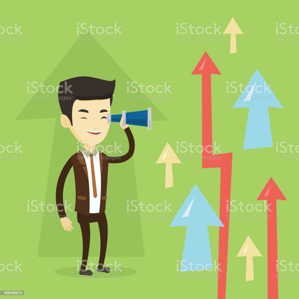 Man looking through spyglass on raising arrows vector art illustration