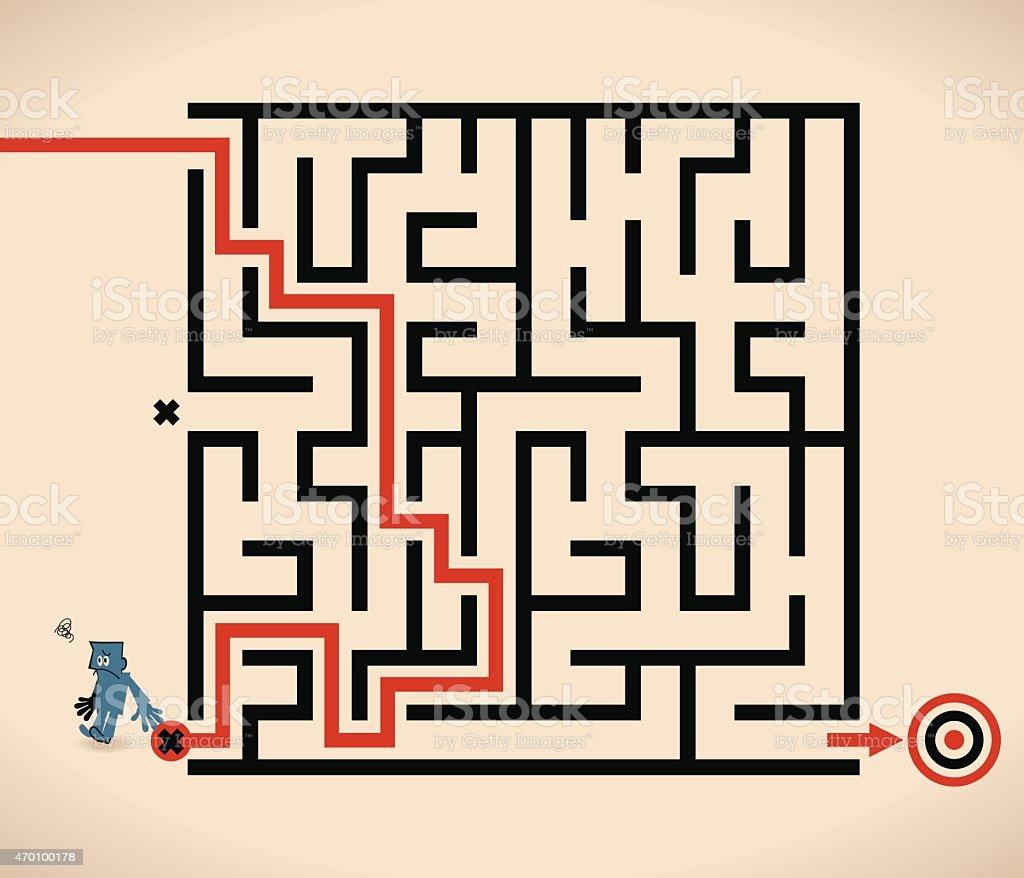 Man (Businessman) lost in maze, wrong way vector art illustration