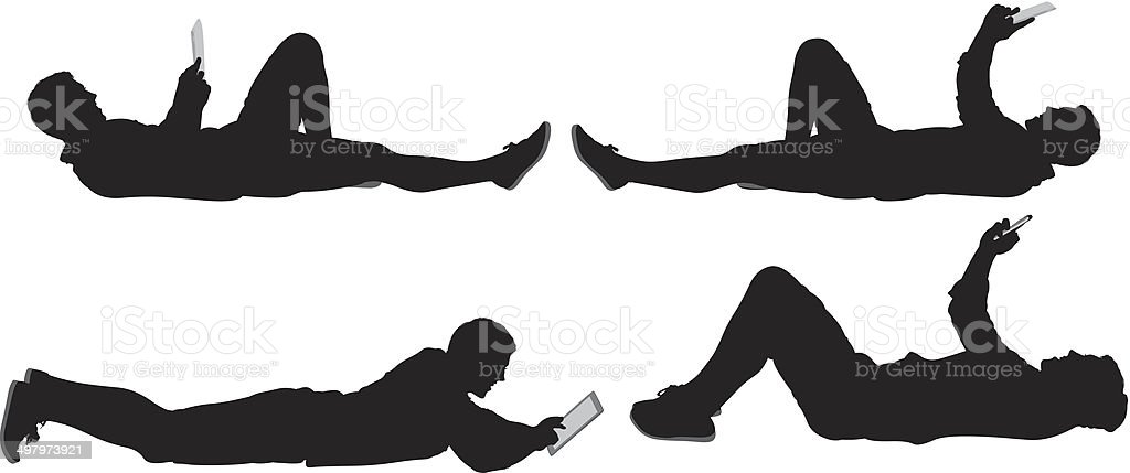 Man lying down vector art illustration