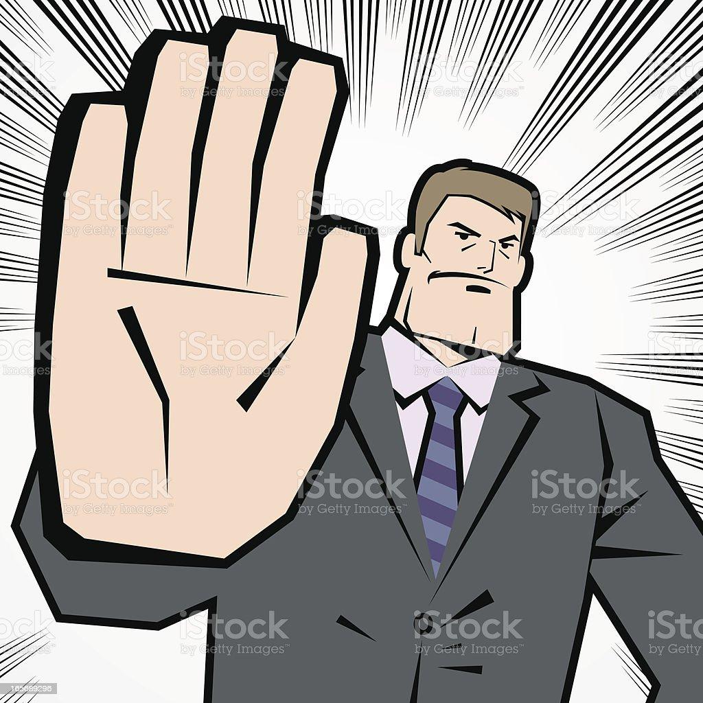 Man Making Stop Gesture! No! Halt! Wait! Caution! royalty-free stock vector art