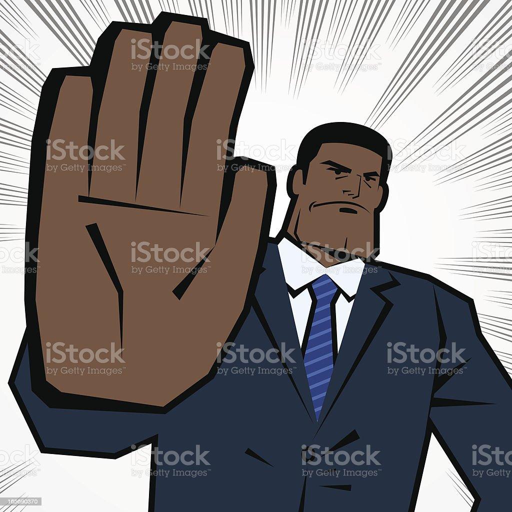 Man Making Stop Gesture! No! Halt! Wait! Caution! vector art illustration