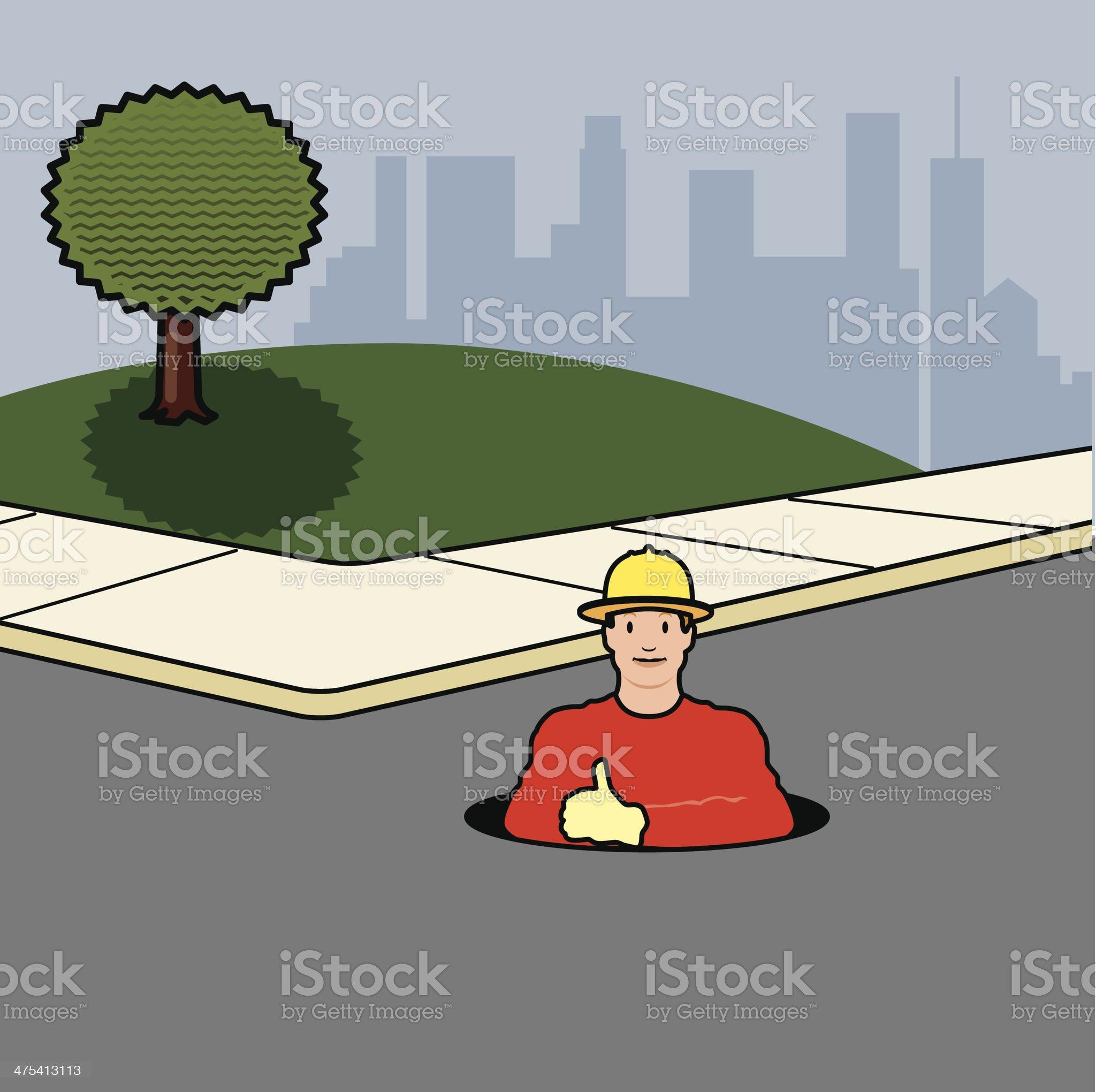 Man Manhole C royalty-free stock vector art