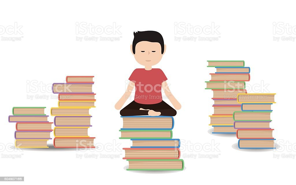 Man meditates on a pile of books vector art illustration