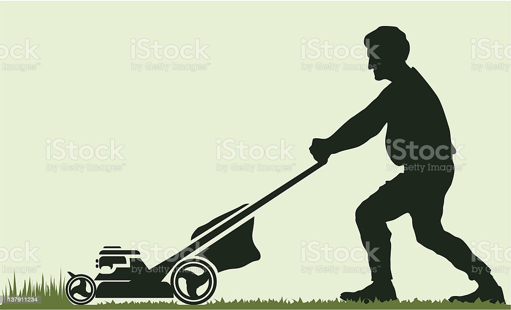 Man moving the lawn vector vector art illustration