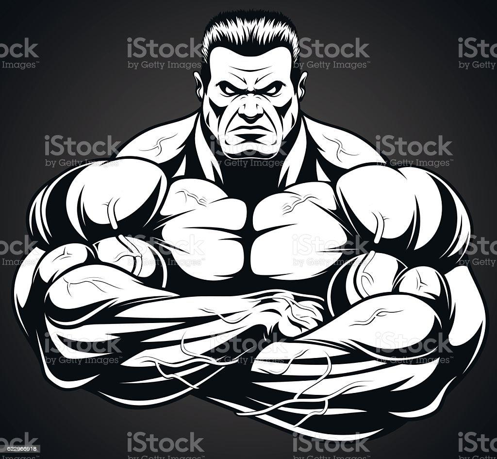 Man of iron vector art illustration