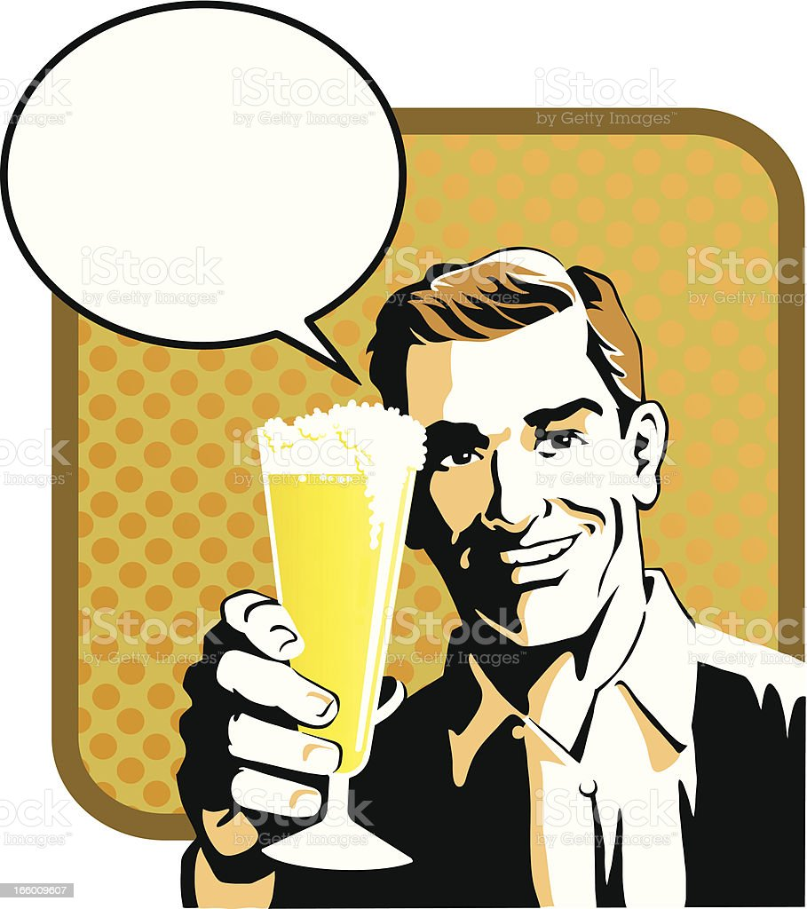 Man Offering You a Glass of Beer royalty-free stock vector art