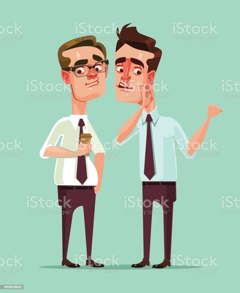 Man office worker says rumors to other man character vector art illustration