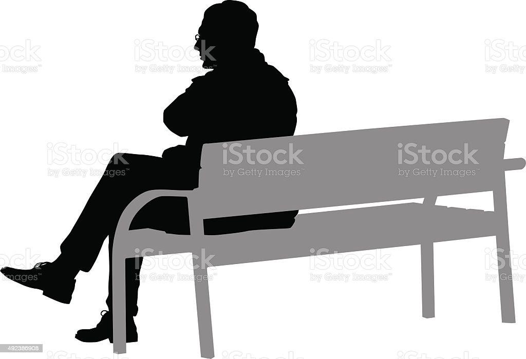 Man on a bench vector art illustration