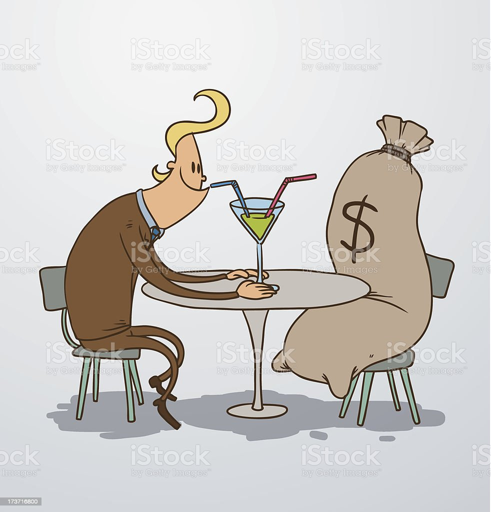 Man on a date with bag of money royalty-free stock vector art