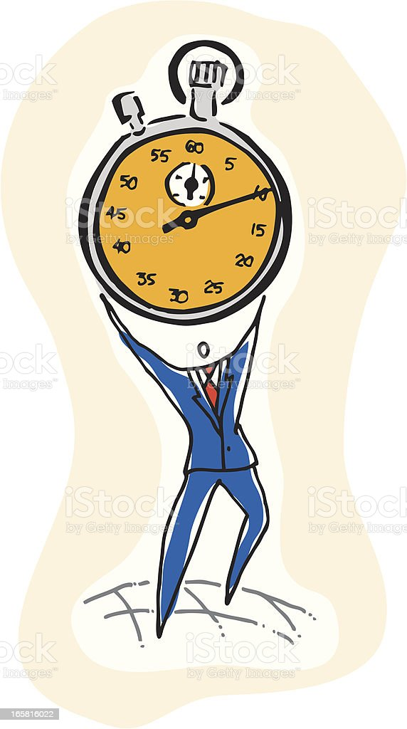 Man on a Deadline with Stopwatch royalty-free stock vector art