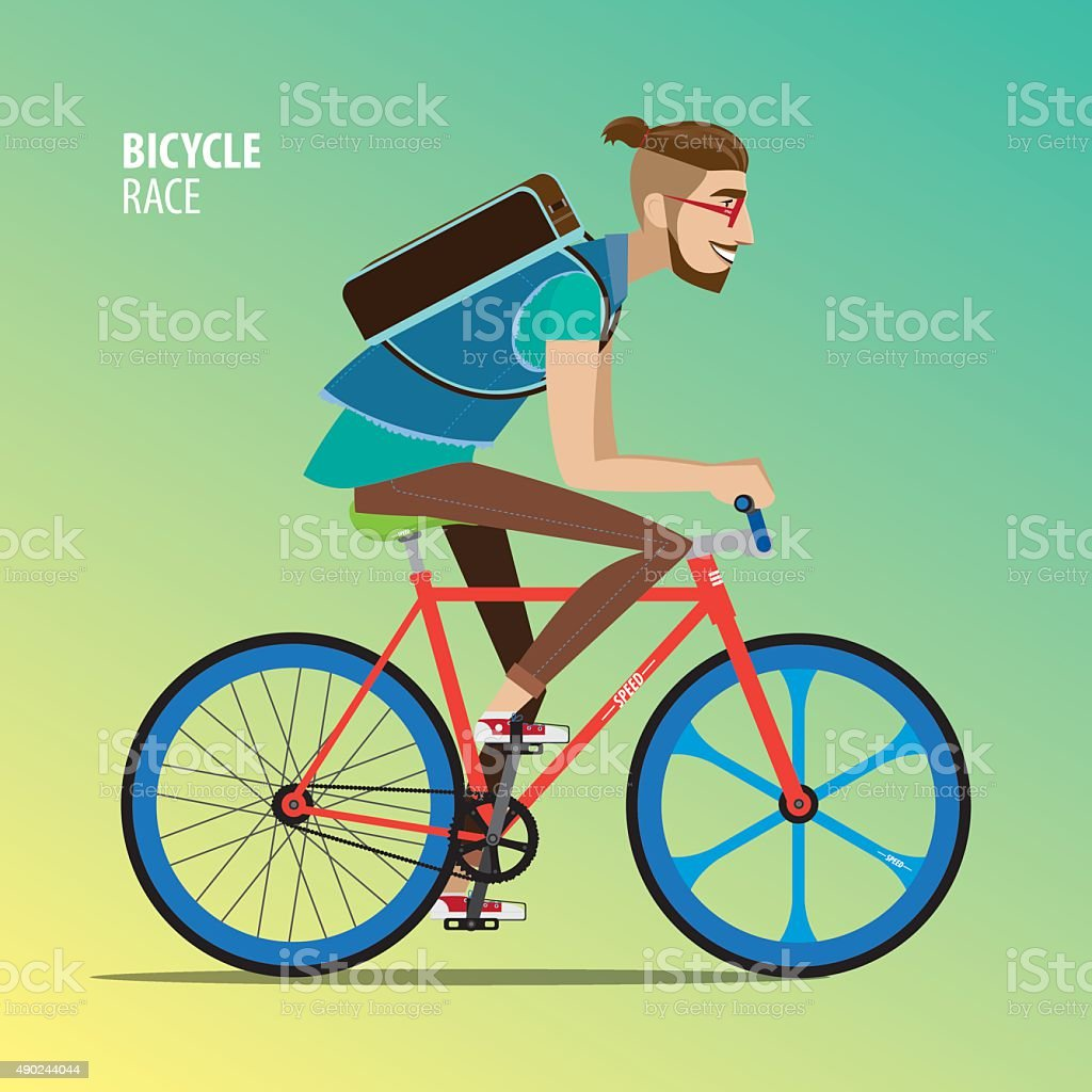 Man on a fix gear bike vector art illustration
