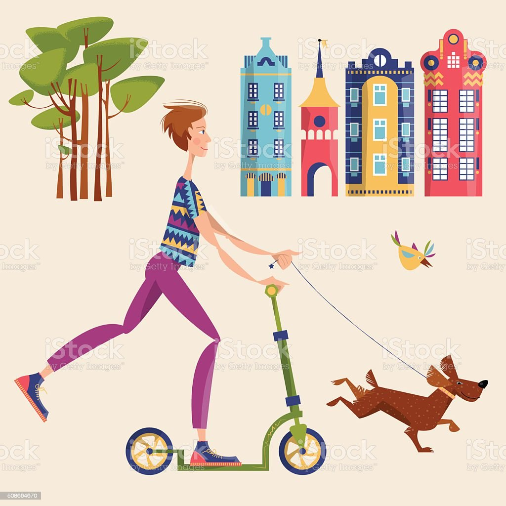 Man on a scooter walking a dog in a city. vector art illustration