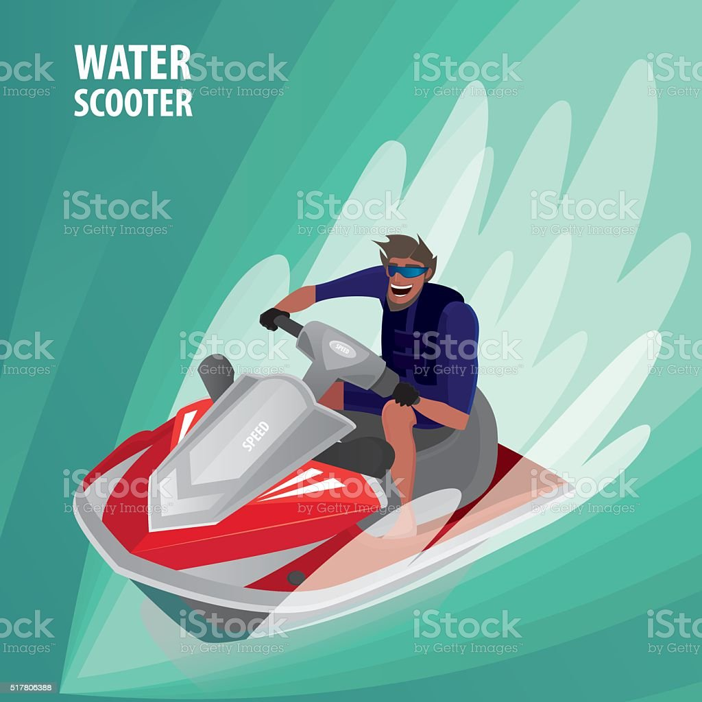 Man on a water scooter vector art illustration