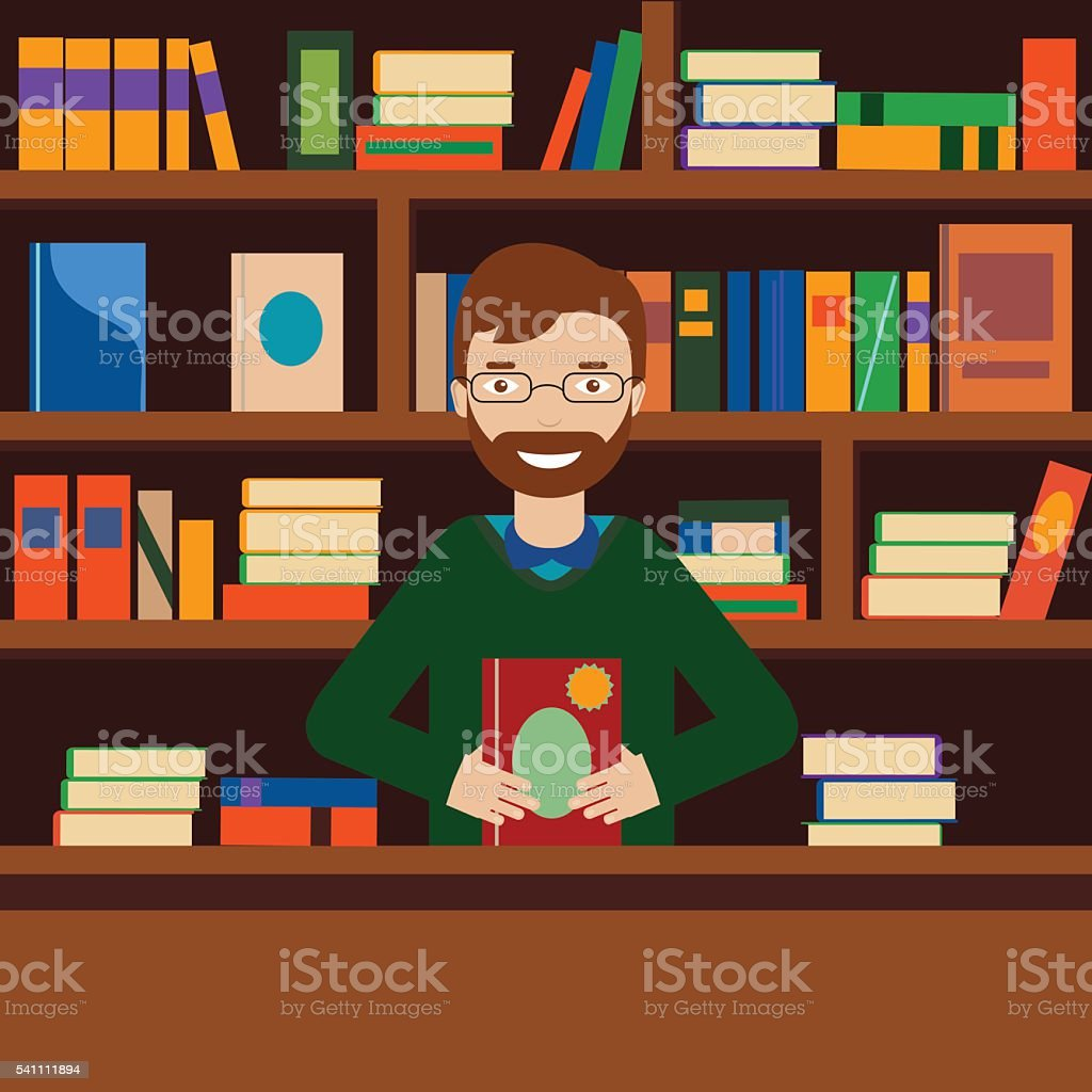 Man on background with bookcase. Librarian or bookstore seller vector art illustration