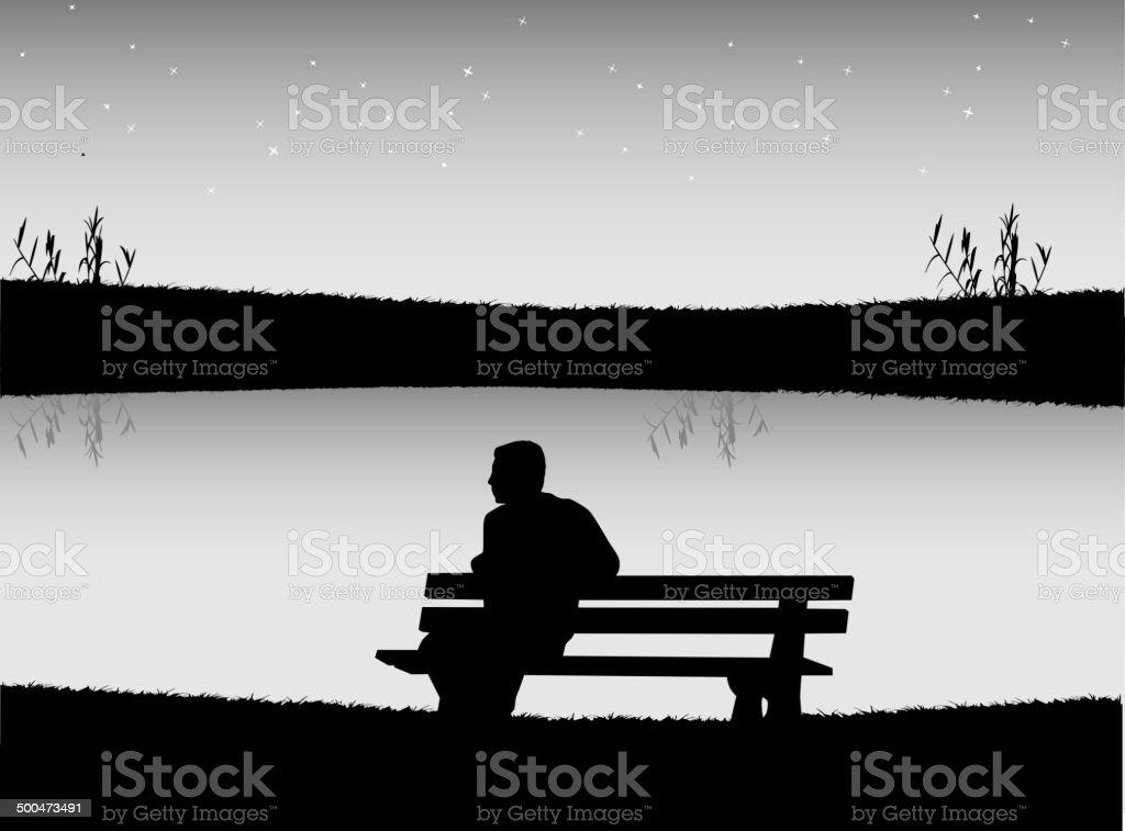 Man on bench vector art illustration