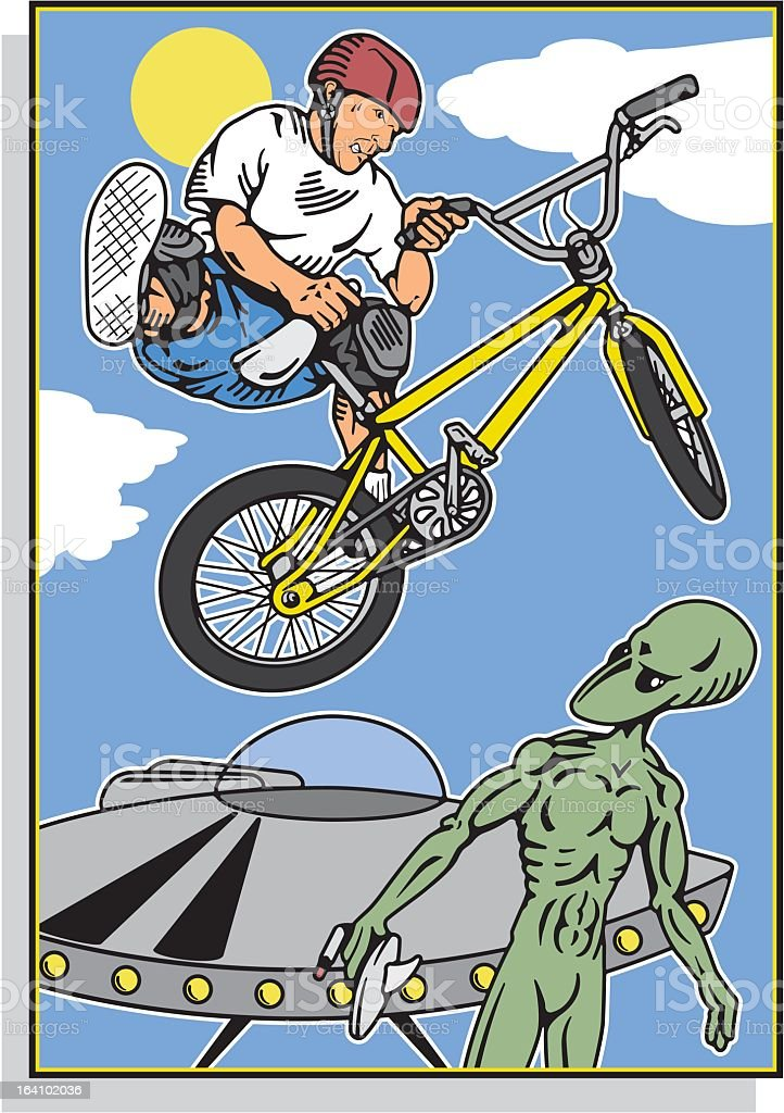 Man on Bike with Alien and Spacecraft royalty-free stock vector art