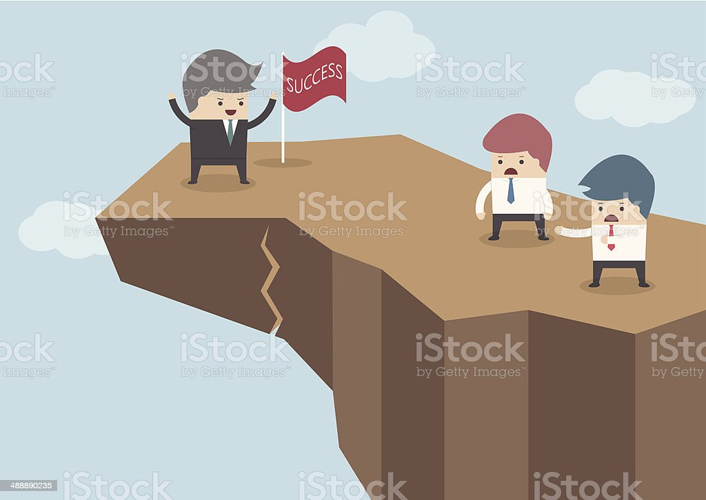 Man on cliff with success flag and two onlookers vector art illustration