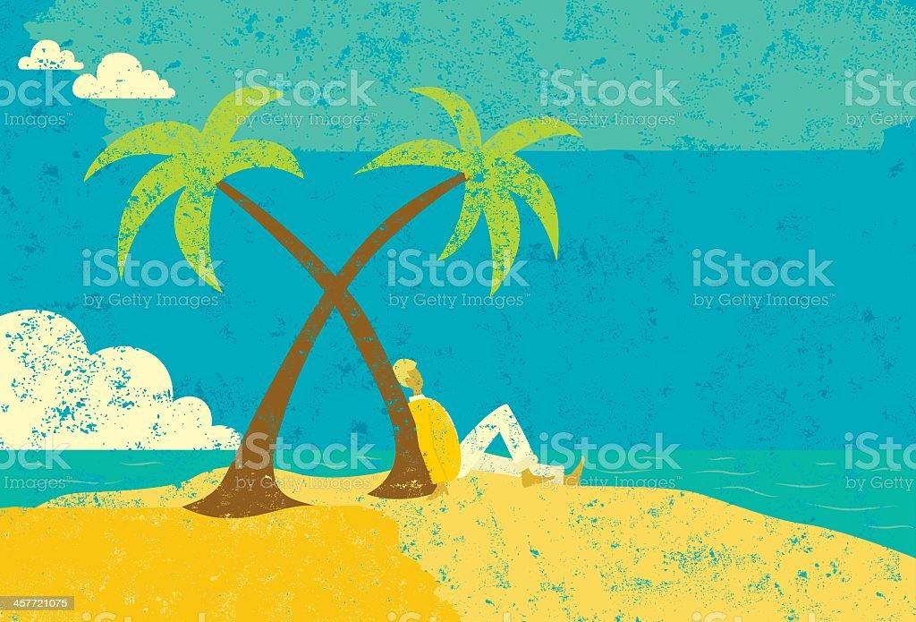 Man on desert island royalty-free stock vector art