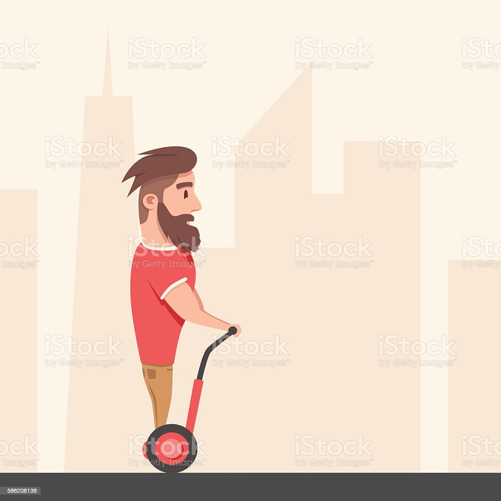 Man on hoverboard. Cartoon vector illustration vector art illustration