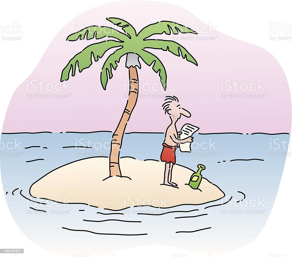 man on island vector art illustration