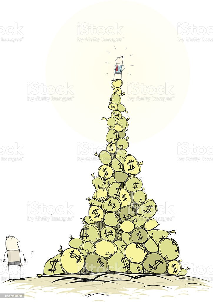 Man on Mountain of Money vector art illustration
