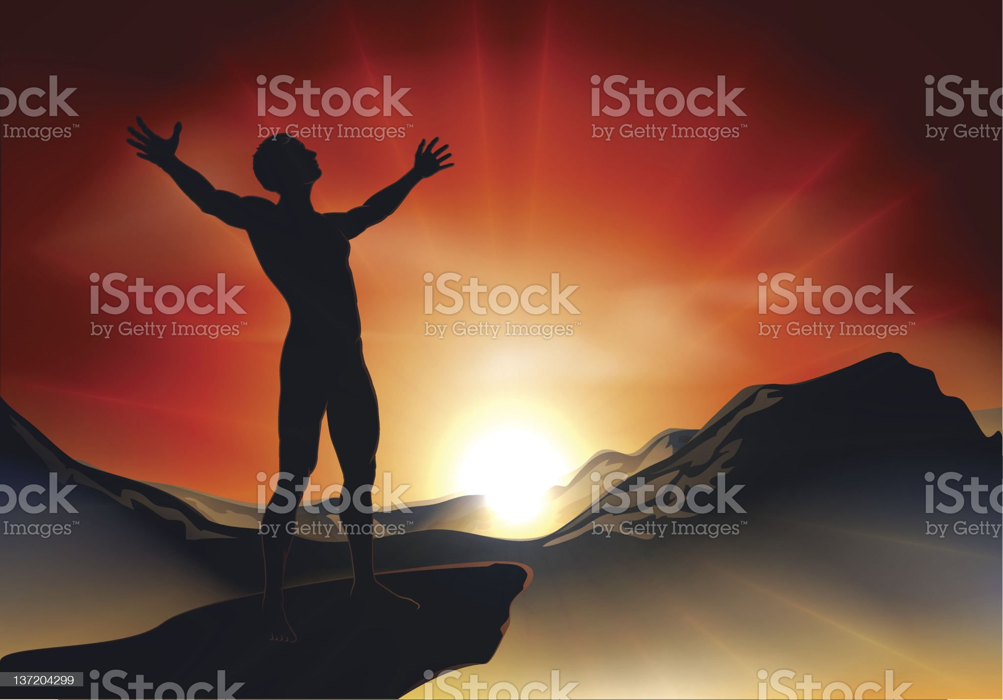 Man on mountaintop with arms out royalty-free stock vector art